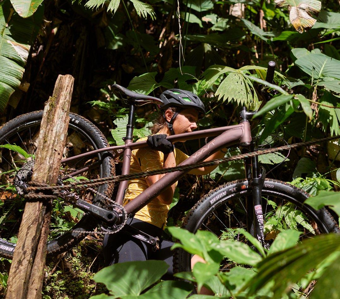 Man carrying a VAAST bike in a tropical green setting.